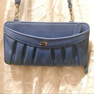 Elle Blue Wallet/Purse With Small Silver Bow